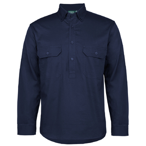 C OF C LONGREACH L/S 150G C/FRONT SHIRT NAVY-5XL