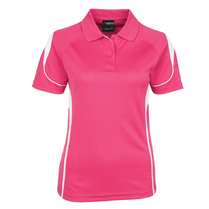 PDM LADIES BELL POLO HOT PINK/WHITE - 24