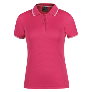 PDM  LADIES JACQUARD CONTRAST POLO  HOT PINK/WHITE - 24