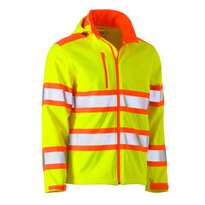 BISLEY Taped double hi vis softshell jacket with adjustable hood. BJ6222T