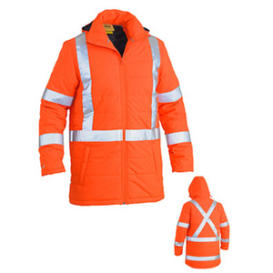 BISLEY TTMC-W compliant Hi Vis Puffer Jacket with hood and quilting. BJ6379XT