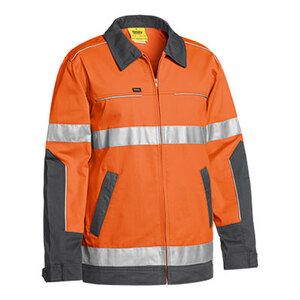 BISLEY  3M Taped Two Tone Hi Vis Liquid Repellent Cotton Drill Jacket BJ6917T