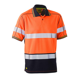 BISLEY Taped two tone hi vis polyester mesh short sleeve polo shirt BK1219T