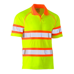 BISLEY Short Sleeve Tape Mesh Polo Shirt - Double Hi Vis BK1223T