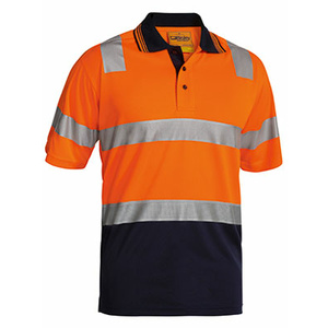 BISLEY  3M Taped Hi Vis Two Tone Micromesh Polo Shirt - Short Sleeve BK1258T