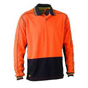 BISLEY Two tone hi vis polyester mesh long sleeve polo shirt BK6219