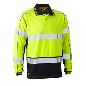 BISLEY Taped two tone hi vis polyester mesh long sleeve polo shirt BK6219T