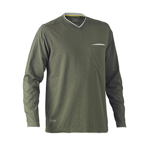 BISLEY Flex & Move™ Cotton Rich V Neck Long Sleeve Tee BK6933