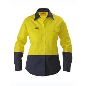 BISLEY  Womens 2 Tone Hi Vis Drill Shirt - Long Sleeve BL6267