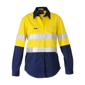 BISLEY  3M Taped 2 Tone Womens Hi Vis Industrial Cool Vent Shirt BL6448T