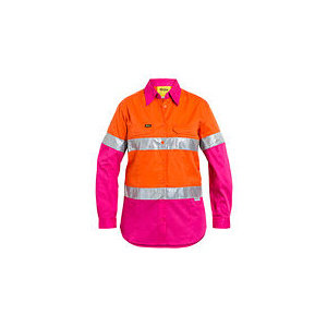 BISLEY  Womens 3M Taped Hi Vis Cool Lightweight Shirt BL6696T