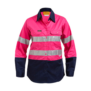 BISLEY  Womens 3M Taped Two Tone Hi Vis Cool Lightweight Shirt - Long Sleeve BL6896