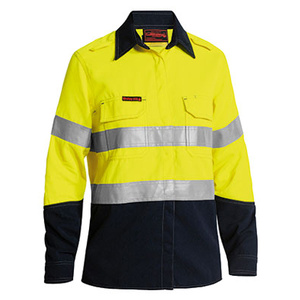 BISLEY  TenCate Tecasafe® Plus Womens Taped Two Tone Hi Vis FR Vented Long Sleeve Shirt  BL8082T