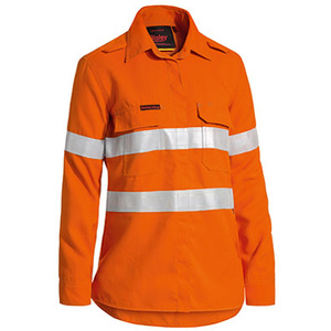 BISLEY  TenCate Tecasafe® Women's Taped Hi Vis FR Lightweight Vented Long Sleeve Shirt BL8097T