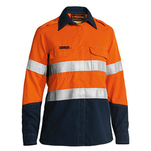 BISLEY  TenCate Tecasafe® Plus Women's Taped Two Tone FR Hi Vis Lightweight Vented Long Sleeve Shirt BL8098T