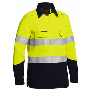 BISLEY  Womens TenCate Tecasafe® Plus Taped Two Tone Hi Vis FR Closed Front Shirt With Concealed Front Placket- Long Sleeve BLC8075T