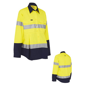 BISLEY 3M taped two tone hi vis drill long sleeve maternity shirt BLM6456T