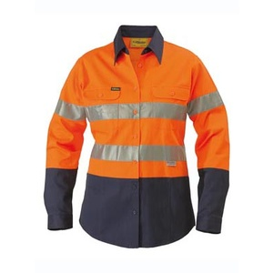BISLEY  2 Tone Womens Hi Vis Drill Shirt 3M Reflective Tape - Long Sleeve BLT6456