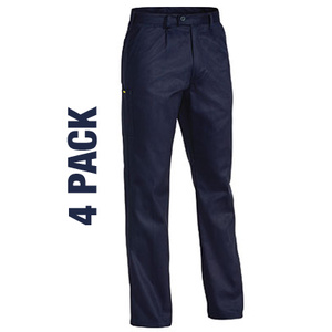 BISLEY Original 100% cotton drill mens 4 pack work pants with mobile phone and coin pocket. BP60074P