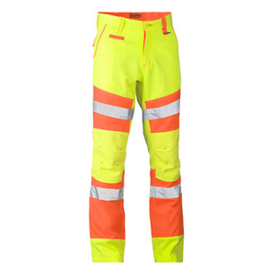 BISLEY Taped Biomotion Flat Front Pant - Double Hi Vis BP6411T