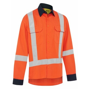 BISLEY TTMC-W17 Cool light weight X back taped long sleeve drill shirt with contrast cuffs. BS6248XT