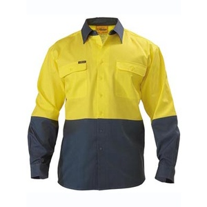 BISLEY  2 Tone Hi Vis Drill Shirt - Long Sleeve BS6267