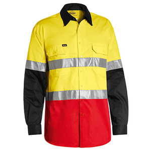 BISLEY  3M Taped Hi Vis Cool Light Weight Three Tone Long Sleeve Shirt BS6697T