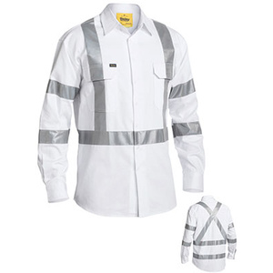 BISLEY  3M Taped White Drill Shirt BS6807T