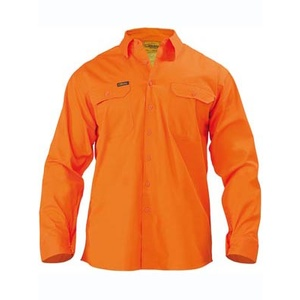 BISLEY  Mens Cool Lightweight Gusset Cuff Hi Vis Drill Shirt - Long Sleeve BS6894