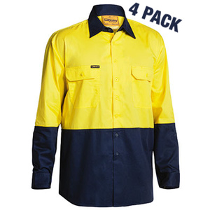 BISLEY 4 Pack two tone high visibility cool lightweight cotton drill long sleeve shirt with under arm mesh ventilation. BS68954P