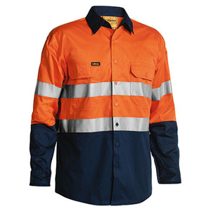 BISLEY  3M Taped Two Tone Hi Vis Cool Lightweight Mens Shirt - Long Sleeve BS6896