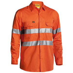 BISLEY  Cool Lightweight Gusset Cuff Hi Vis Mens Shirt with 3M Reflective Tape - Long Sleeve BS6897