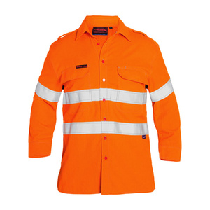 BISLEY  TenCate Tecasafe® Taped FR Hi Vis Light Weight Vented Long Sleeve Shirt BS8097T