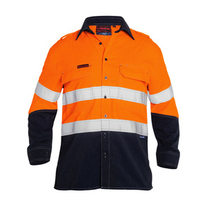 BISLEY  TenCate Tecasafe® Plus Taped 2 Tone Hi Vis FR Light Weight Vented Long Sleeve Shirt BS8098T