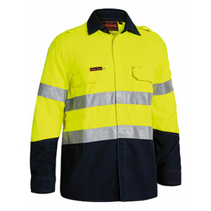 BISLEY  TenCate Tecasafe® Plus Taped Two Tone Hi Vis FR Non Vented Shirt - Long Sleeve BS8198T