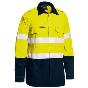BISLEY  TenCate Tecasafe® Plus Taped Two Tone Hi Vis FR Lightweight Vented Shirt - Long Sleeve BS8237T