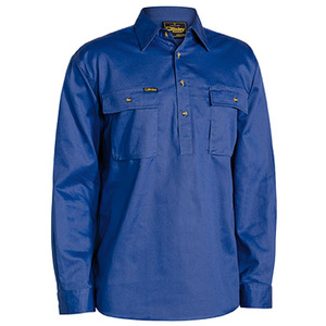 BISLEY  Closed Front Cotton Drill Shirt - Long Sleeve BSC6433