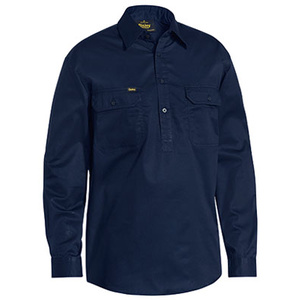 BISLEY  Closed Front Cotton Light Weight Drill Shirt - Long Sleeve BSC6820