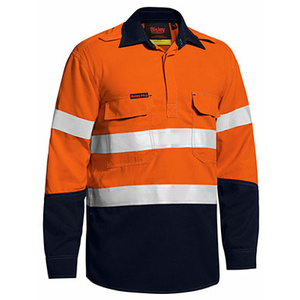 BISLEY  TenCate Tecasafe® Plus Taped Two Tone Hi Vis Closed Front Vented Shirt - Long Sleeve BSC8075T