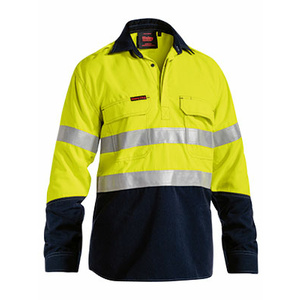 BISLEY  TenCate Tecasafe® Plus Taped Two Tone Hi Vis Closed Front FR Vented Shirt - Long Sleeve BSC8082T