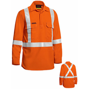 BISLEY  TenCate Tecasafe® Plus Taped hi Vis Closed Front Lightweight FR Shirt - Long Sleeve BSC8176T