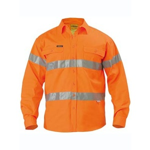 BISLEY  Hi Vis 3M Reflective Tape Mens Drill Long Sleeve Shirt  BT6482