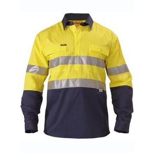 BISLEY  2 Tone Closed Front Hi Vis Drill Shirt 3M Reflective Tape - Long Sleeve BTC6456