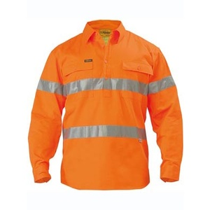 BISLEY  Hi Vis 3M Reflective Tape Closed Front Mens Drill Long Sleeve Shirt  BTC6482