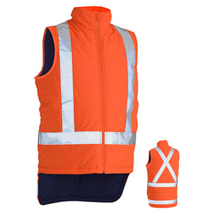 BISLEY X Taped Hi Vis TTMC_W compliant Puffer Vest with quilting. BV0379XT