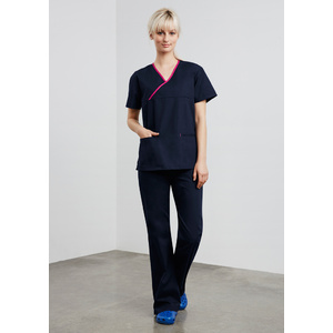 BIZ COLLECTION Ladies Contrast Crossover Scrubs Top H10722
