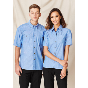 BIZ COLLECTION Ladies Wrinkle Free Chambray Short Sleeve Shirt LB6200