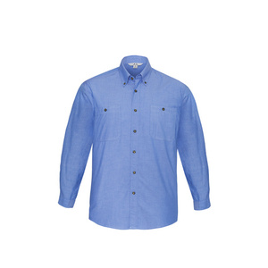 BIZ COLLECTION Mens Wrinkle Free Chambray Long Sleeve Shirt SH112