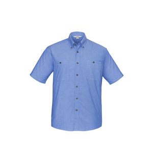 BIZ COLLECTION Mens Wrinkle Free Chambray Short Sleeve Shirt SH113