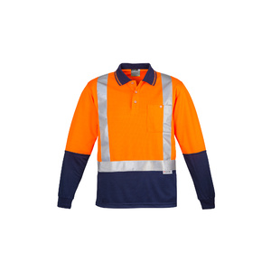 SYZMIK Mens Hi Vis Spliced Polo - Long Sleeve Shoulder Taped ZH234